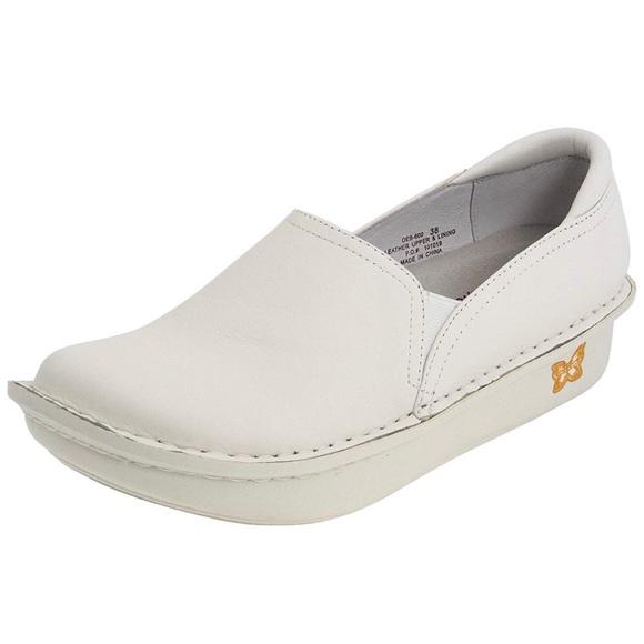 Alegria White Leather Nursing Shoes